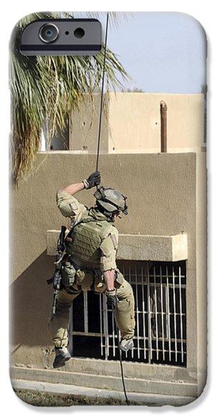 Baghdad iPhone Cases - U.s. Air Force Pararescueman Repels iPhone Case by Stocktrek Images