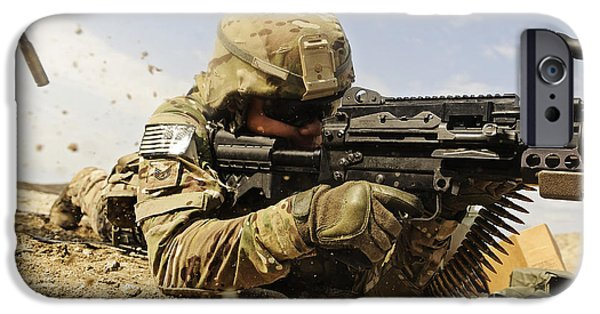 Fed iPhone Cases - U.s. Air Force Soldier Fires The Mk48 iPhone Case by Stocktrek Images