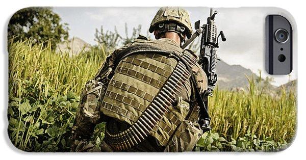 Soldier Field iPhone Cases - U.s. Army Mk48 Machine Gunner Patrols iPhone Case by Stocktrek Images