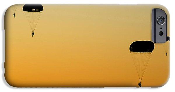 Escape iPhone Cases - U.s. Army Rangers Parachute iPhone Case by Stocktrek Images