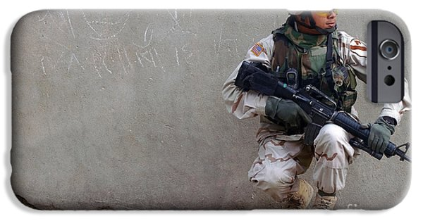 Baghdad iPhone Cases - U.s. Army Soldier Armed With A 5.56mm iPhone Case by Stocktrek Images