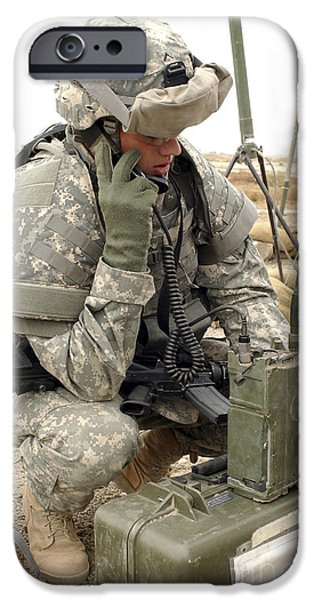 U.s. Army Soldier Performs A Radio iPhone Case by Stocktrek Images
