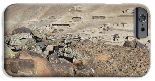 East Village iPhone Cases - U.s. Army Soldier Provides Security iPhone Case by Stocktrek Images