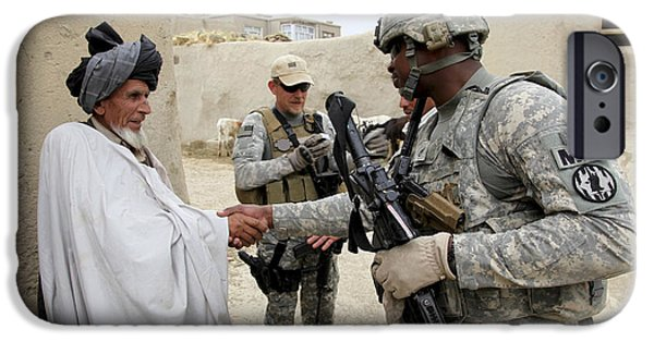 Police Patrol Law Enforcement iPhone Cases - U.s. Army Soldier Shakes Hands With An iPhone Case by Stocktrek Images