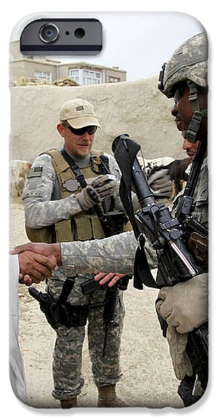 U.s. Army Soldier Shakes Hands With An iPhone Case by Stocktrek Images