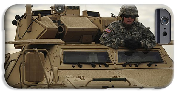 Law Enforcement iPhone Cases - U.s. Army Soldier Stands In The Drivers iPhone Case by Stocktrek Images