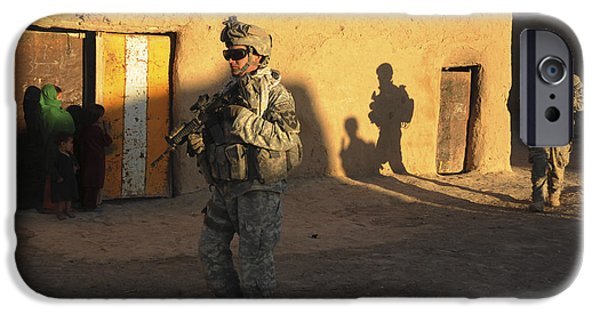 East Village iPhone Cases - U.s. Army Soldiers Conduct A Dismounted iPhone Case by Stocktrek Images