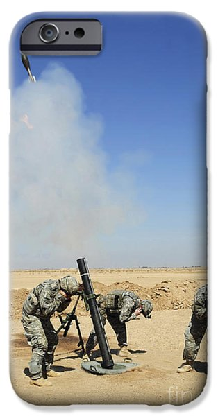 Iraq iPhone Cases - U.s. Army Soldiers Firing An M120 120mm iPhone Case by Stocktrek Images