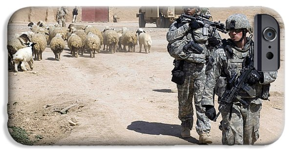East Village iPhone Cases - U.s. Army Soldiers Providing Security iPhone Case by Stocktrek Images