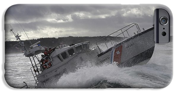 Horizontal iPhone Cases - U.s. Coast Guard Motor Life Boat Brakes iPhone Case by Stocktrek Images