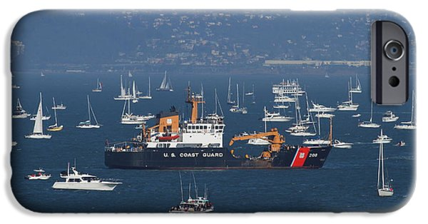 Coastguard iPhone Cases - US Coast Guard Ship Surrounded By Boats in The San Francisco Bay. 7D7895 iPhone Case by Wingsdomain Art and Photography