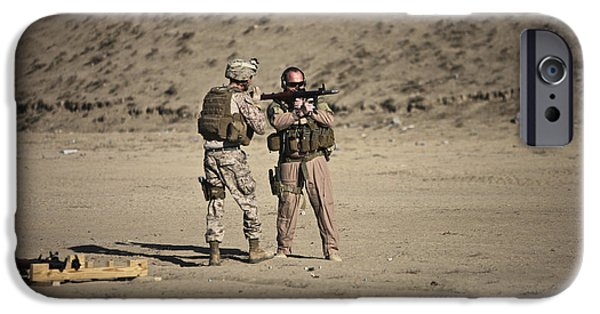 Rpg iPhone Cases - U.s. Contractor Firing An Automatic iPhone Case by Terry Moore