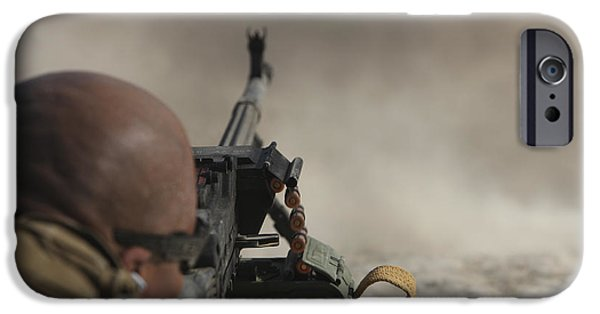 Fed iPhone Cases - U.s. Contractor Firing The Pkm 7.62 iPhone Case by Terry Moore