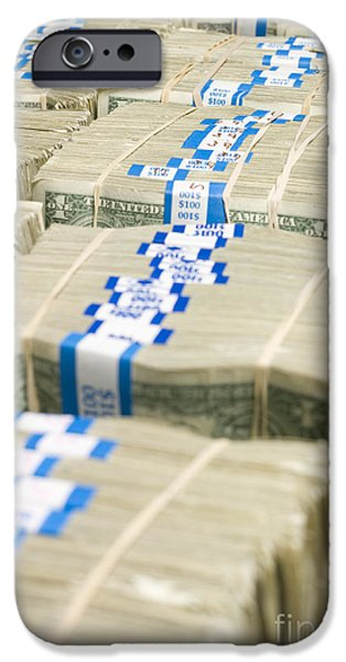 US Dollar Bills in Bundles iPhone Case by Adam Crowley