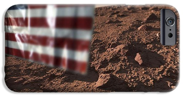 First Star iPhone Cases - Us Flag On Mars, Artwork iPhone Case by Detlev Van Ravenswaay