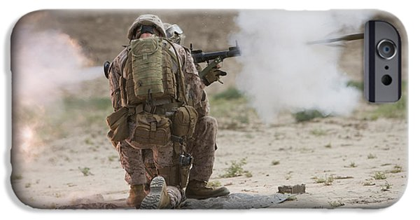 Rpg iPhone Cases - U.s. Marine Fires A Rocket-propelled iPhone Case by Terry Moore