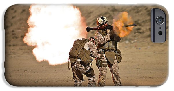 Rpg iPhone Cases - U.s. Marine Fires A Rpg-7 Grenade iPhone Case by Terry Moore