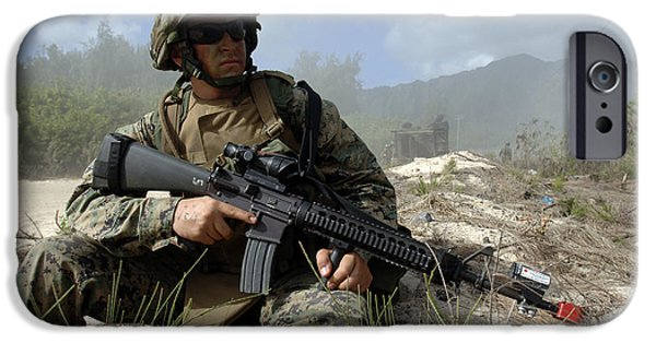 Rpg iPhone Cases - U.s. Marine Takes Part In An Amphibious iPhone Case by Stocktrek Images