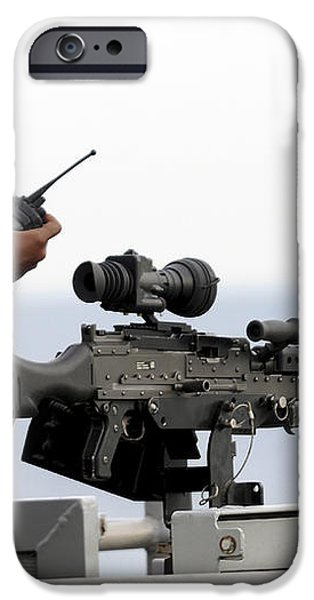 U.s. Marine Talks On A Radio While iPhone Case by Stocktrek Images