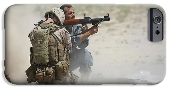 Rpg iPhone Cases - U.s. Marine Watches An Afghan Police iPhone Case by Terry Moore