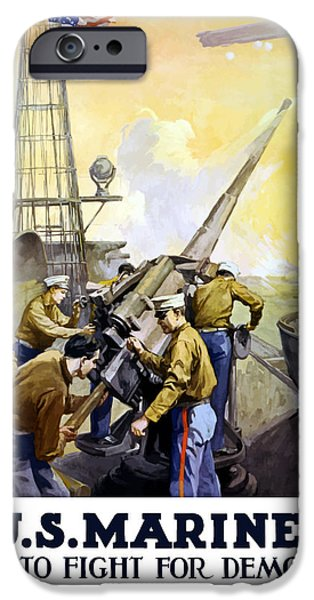 Battleship iPhone Cases - US Marines -- First To Fight For Democracy iPhone Case by War Is Hell Store