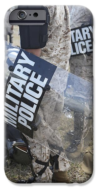 Law Enforcement iPhone Cases - U.s. Marines And Sailors Don Riot Gear iPhone Case by Stocktrek Images