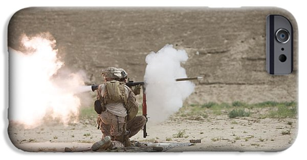 Rpg iPhone Cases - U.s. Marines Fire A Rpg-7 Grenade iPhone Case by Terry Moore