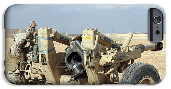 Recently Sold -  - Baghdad iPhone Cases - U.s. Marines Prepare To Fire A Howitzer iPhone Case by Stocktrek Images