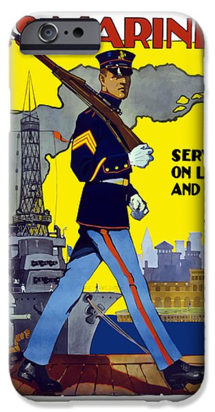 Battleship iPhone Cases - U.S. Marines Service On Land And Sea iPhone Case by War Is Hell Store