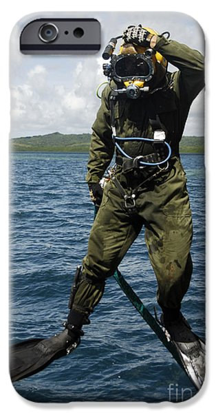 U.s. Navy Diver Jumps Off A Dive iPhone Case by Stocktrek Images