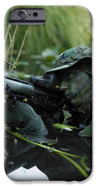 U.s. Navy Seal Crosses Through A Stream iPhone Case by Tom Weber