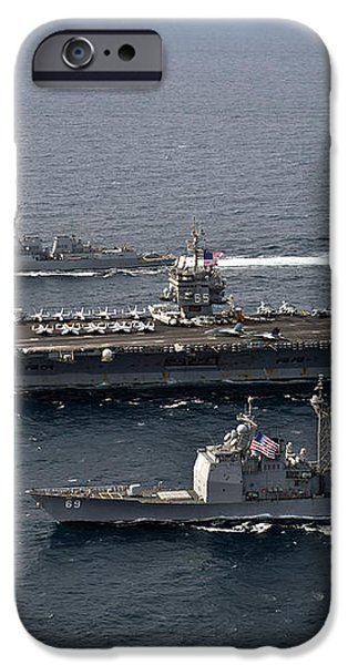 U.s. Navy Ships Transit The Atlantic iPhone Case by Stocktrek Images