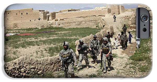 East Village iPhone Cases - U.s. Soldiers Conduct A Dismounted iPhone Case by Stocktrek Images
