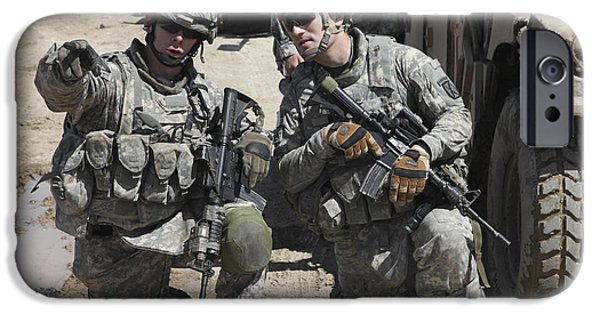 Baghdad iPhone Cases - U.s. Soldiers Coordinate Security iPhone Case by Stocktrek Images