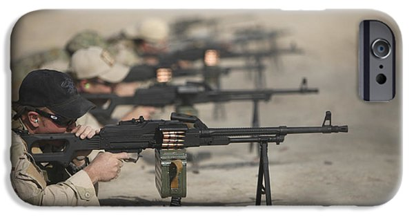 Fed iPhone Cases - U.s. Soldiers Firing Pk 7.62 Mm iPhone Case by Terry Moore