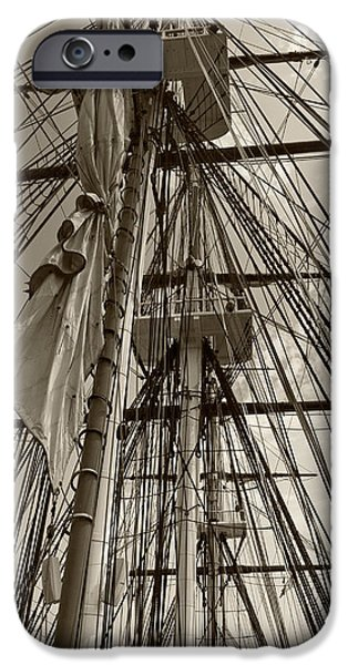 Constitution Party iPhone Cases - USS Constitution masts - sepia iPhone Case by Tim Mulina