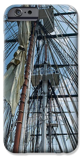 Constitution Party iPhone Cases - USS Constitution masts iPhone Case by Tim Mulina