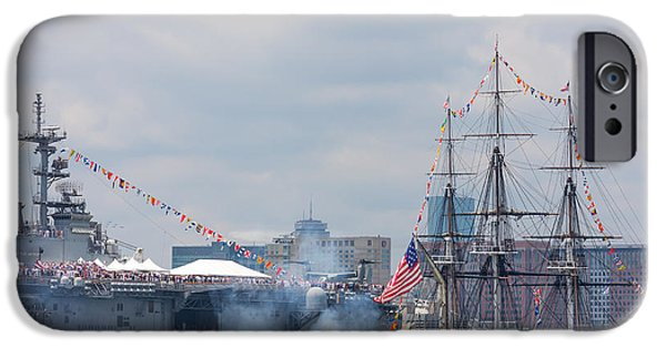 Recently Sold -  - Constitution iPhone Cases - USS Constitution Salutes USS Wasp iPhone Case by Susan Cole Kelly