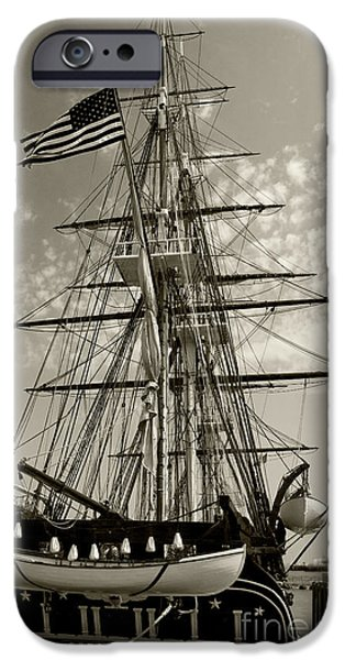 Constitution Party iPhone Cases - USS Constitution stern - Sepia iPhone Case by Tim Mulina