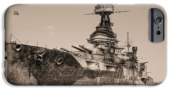 Wwi iPhone Cases - USS Texas BW iPhone Case by JC Findley