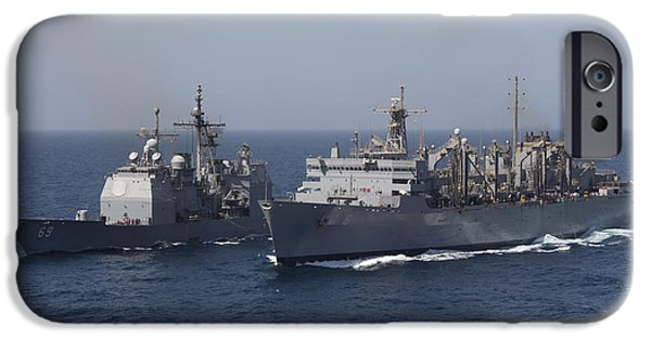 Freedom iPhone Cases - Uss Vicksburg And Uss Supply iPhone Case by Gert Kromhout