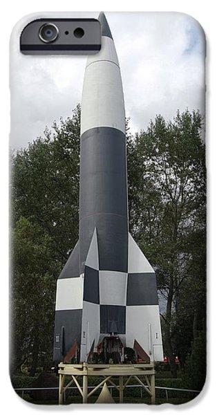 V2 Rocket iPhone Cases - V-2 Rocket Model, Germany iPhone Case by Detlev Van Ravenswaay