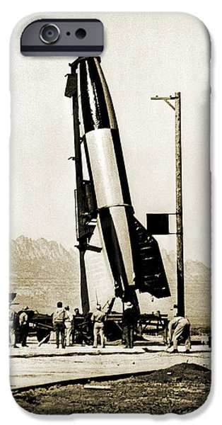 V2 Rocket iPhone Cases - V-2 Rocket Prior To First Us Launch iPhone Case by Detlev Van Ravenswaay
