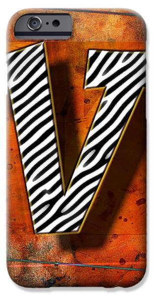 Leaning Pyrography iPhone Cases - V iPhone Case by Mauro Celotti