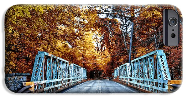Philadelphia Cricket Club iPhone Cases - Valley Green Road Bridge in Autumn iPhone Case by Bill Cannon