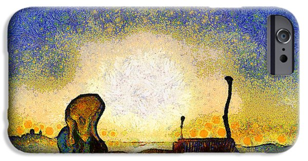 The Scream iPhone Cases - Van Gogh Screams On The Berkeley Pier Under a Starry Night . IMG3188 iPhone Case by Wingsdomain Art and Photography