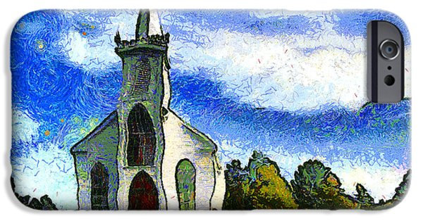 Bodega Bay iPhone Cases - Van Gogh.s Church On The Hill 7D12437 iPhone Case by Wingsdomain Art and Photography