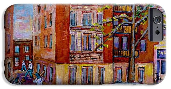 Old Pitcher Paintings iPhone Cases - Van Horne Boulevard Montreal Street Scene iPhone Case by Carole Spandau