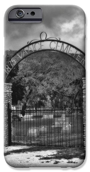 World War One iPhone Cases - Vance Cemetery Black and White iPhone Case by Donna Van Vlack