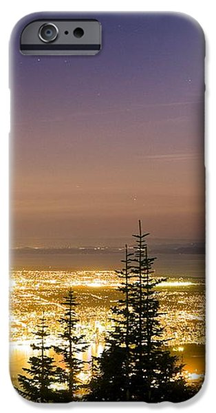 Vancouver At Night, Time-exposure Image iPhone Case by David Nunuk
